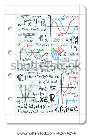 Squared paper with colored mathematical formulas and sketches - vector illustration - stock vector