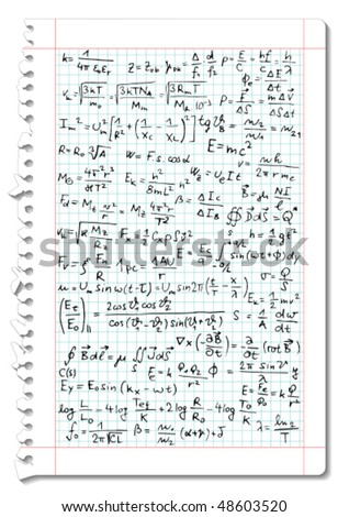 Squared paper with mathematical and physical equations and formulas - vector illustration - stock vector