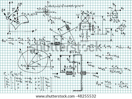 Squared paper with mechanical sketches and formulas - vector illustration - stock vector