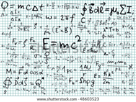Squared paper with physical equations and formulas - vector illustration - stock vector
