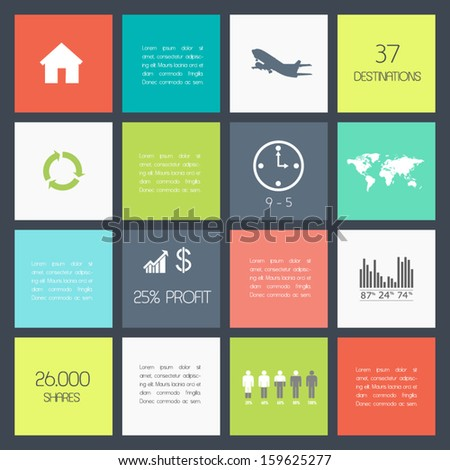Squares background. Vector template for flat design interface or infographic ready to place for your content - stock vector