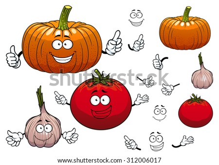 Squash or pumpkin, tomato and garlic cartoon vegetables characters with hands and happy faces, isolated on white - stock vector