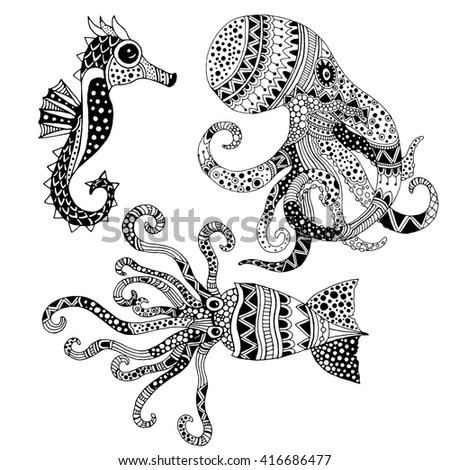 Squid, octopus and sea horse illustration - stock vector