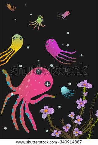 Squids Love Cartoon Greeting Card Design. Under the sea deep and dark marine life cute cartoon illustration. Vector EPS10.  - stock vector