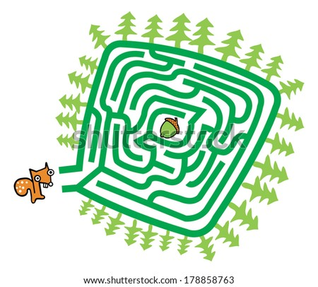 Squirrel And Nut Maze Game For Kids. - stock vector