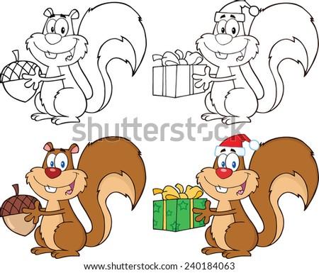Squirrel Cartoon Mascot Characters 1. Vector Collection Set - stock vector
