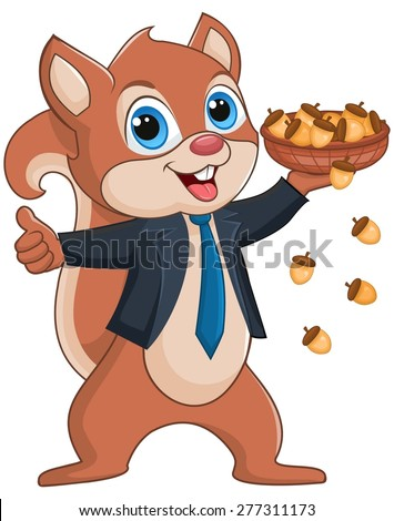 Squirrel holding a basket full of nuts, wearing suit and tie - stock vector