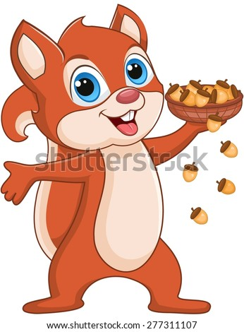 Squirrel holding a basket of huts - stock vector