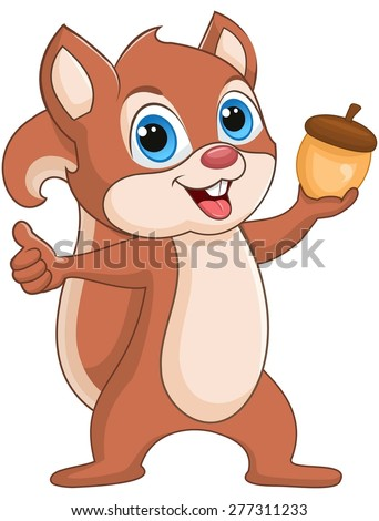 Squirrel holding a nut, smiling  - stock vector