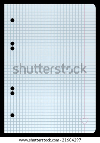 Squred blank paper with heart on the margin - stock vector