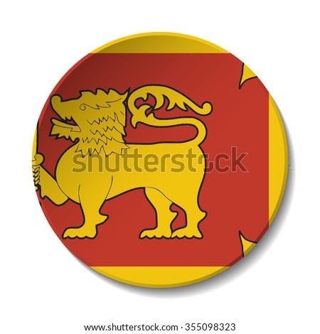 Sri Lanka Flag Button. Vector icon flag of Sri Lanka on white background. Paper cut style country flag.  - stock vector