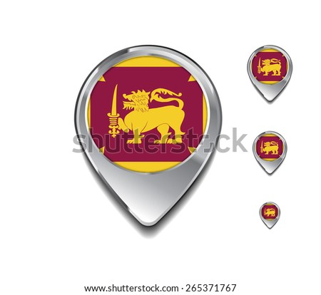 Sri Lanka flag map pointer. 3d Map Pointer with flag glossy button style on gray background - stock vector