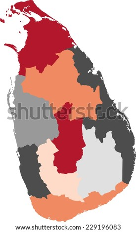 Sri Lanka political map with pastel colors. - stock vector