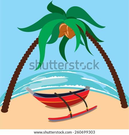 Sri Lankan traditional boat on the beach - stock vector