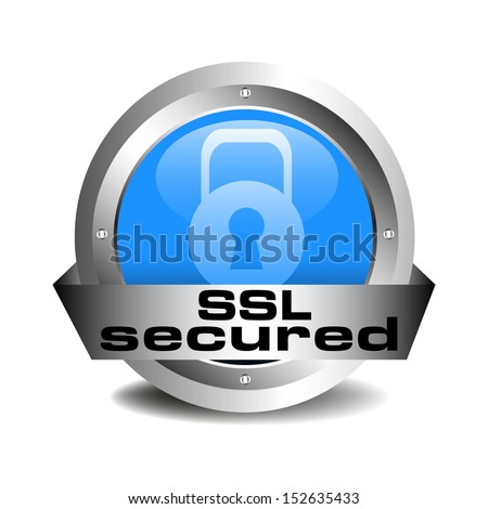 SSL secured blue sign isolated on a white background - stock vector