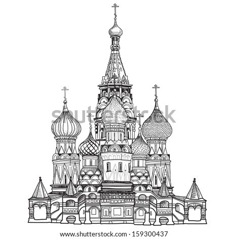 St Basil's Cathedral, Red Square, Moscow, Russia. Vector illustration isolated on white background.  - stock vector