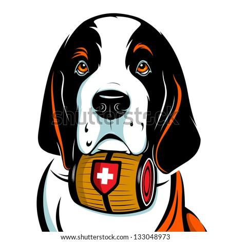 St. Bernard Dog. Vector Illustration - stock vector