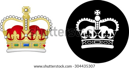 St. Edwards Crown. Vector graphic images representing the corwn of the British Royal Family. - stock vector
