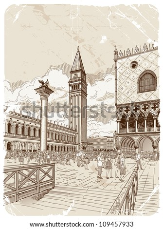 St. Mark's Campanile and The Doge's Palace, Venice - stock vector
