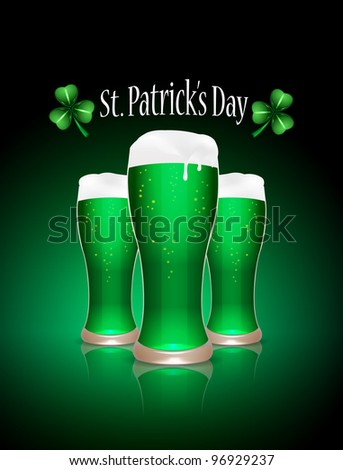 St.Patrick beer glasses, vector illustration, eps10, 3 layers, easy editable - stock vector