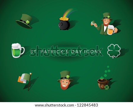 St. Patrick Day Icon Symbol Set Vector - stock vector