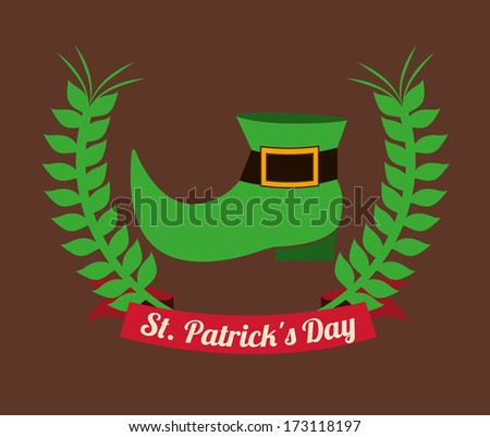 st patrick day over brown background vector illustration - stock vector