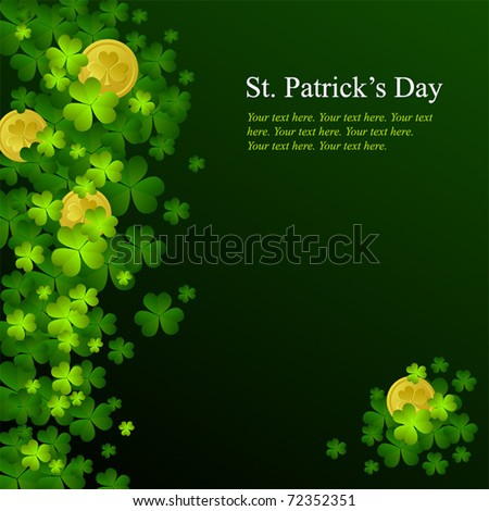 St. Patrick's day background in green and black colors - stock vector