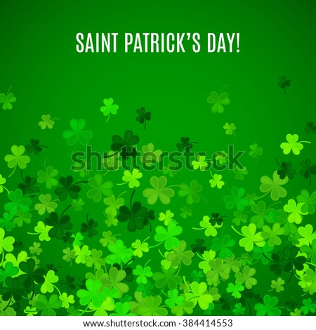 St Patrick's Day background. Vector illustration for lucky spring design with shamrock. Green clover border and frame isolated on green background. Ireland symbol pattern. Irish header for web site. - stock vector