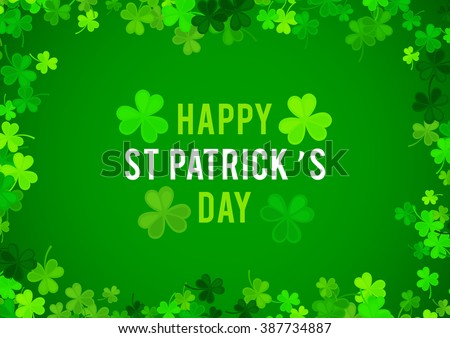 St Patrick's Day background. Vector illustration for lucky spring design with shamrock. Green clover wave border isolated on green background. Ireland symbol pattern. Irish header for web site. - stock vector