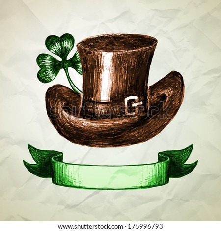 St. Patrick's Day background with hand drawn sketch hat and clover. Vector illustration. Crumpled paper. - stock vector