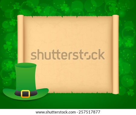 St Patrick's day background with parchment and hat - stock vector