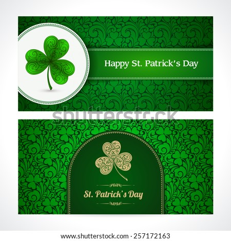 St. Patrick's day background with pattern and ornate clover Banners set with ornaments Vector illustration. St. Patrick's day invitation, greeting card, banner - stock vector
