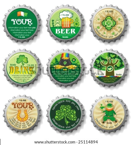 St. Patrick's Day bottle caps- vector buttons.  To see similar, please VISIT MY GALLERY.   - stock vector