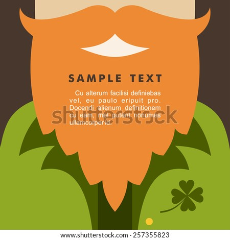 St. Patrick's Day card design. Vintage holiday badge design. Leprechaun - stock vector
