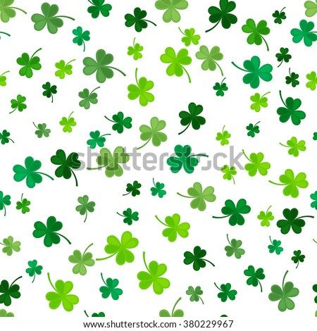 St Patrick's Day Clover seamless pattern. Vector illustration for lucky spring design with shamrock. Green clover isolated on white background. Ireland symbol pattern. Irish decor for web site. - stock vector