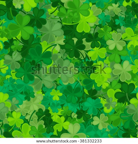 St Patrick's Day Clover seamless pattern. Vector illustration for lucky spring design with shamrock. Green clover isolated on green background. Ireland symbol pattern. Irish decor for web site. - stock vector