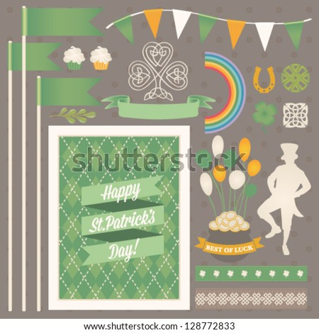 St. Patrick's Day design elements collection. Vector set - stock vector