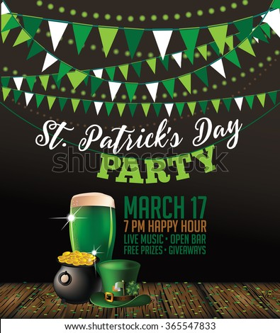 St. Patrick's Day green beer party invitation poster. EPS 10 vector. - stock vector