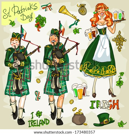St. Patrick's Day - hand drawn clip art collection - part 1. Doodles, isolated - stock vector