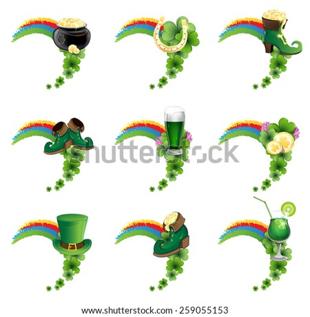St. Patrick's Day icon set. Holiday symbols with rainbow on a white background - stock vector