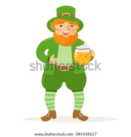 St. Patrick's day. Man with a beer in his hand. Holiday. Isolated illustration on white background. Cartoon character.  - stock vector