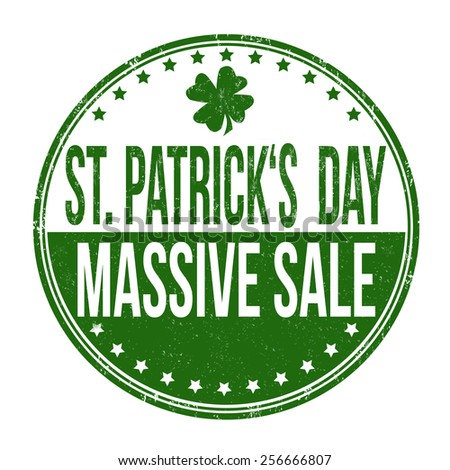 St. Patrick's Day massive sale grunge rubber stamp on white background, vector illustration - stock vector