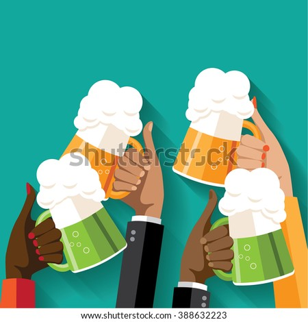 St. Patrick's Day or Oktoberfest toasting hands beer party poster. EPS 10 vector. People clinking beer glasses. Pub, bar, craft beer or microbrewery ad, web page or marketing. Copy space. Flat design - stock vector