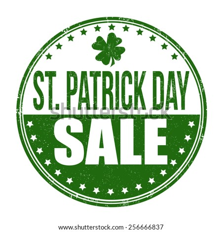 St. Patrick's Day sale grunge rubber stamp on white background, vector illustration - stock vector