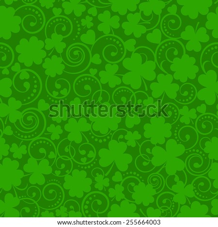 St. Patrick's Day seamless pattern with clover and swirls - stock vector