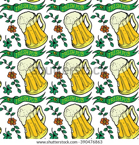 St.Patrick's Day seamless pattern with clover, ribbon and beer glasses on white background. Perfect for wallpapers, gift papers, patterns fills, textile, St. Patrick's Day greeting cards - stock vector