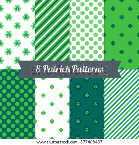St. Patrick's Day seamless patterns with Shamrock, Diagonal Stripes and Polka Dot in Green, Dark Green, Teal and White. Perfect for wallpapers, gift papers, patterns fills, textile, greeting cards - stock vector