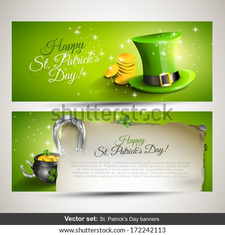 St. Patrick's Day - Set of two horizontal banners  - stock vector