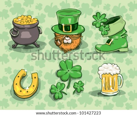 St. Patrick's day symbols - vector set isolated on shamrock background - stock vector