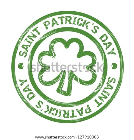 st patricks day illustration with clover, seal. vector illustration - stock vector